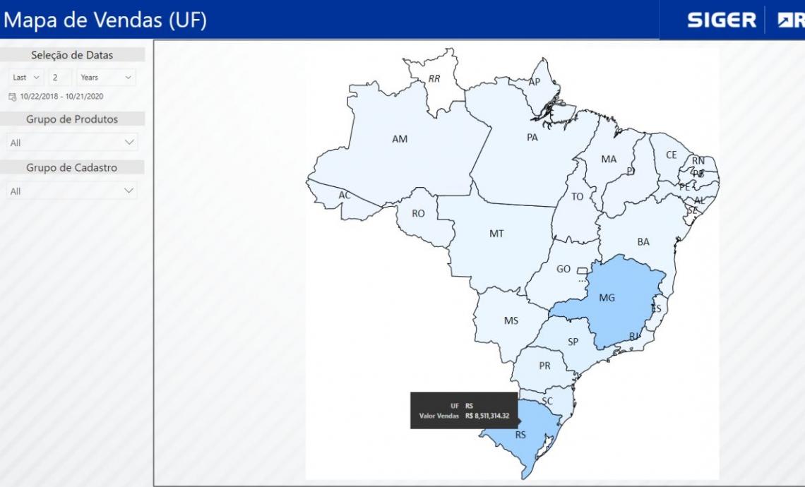 Mapa de Vendas por Estado