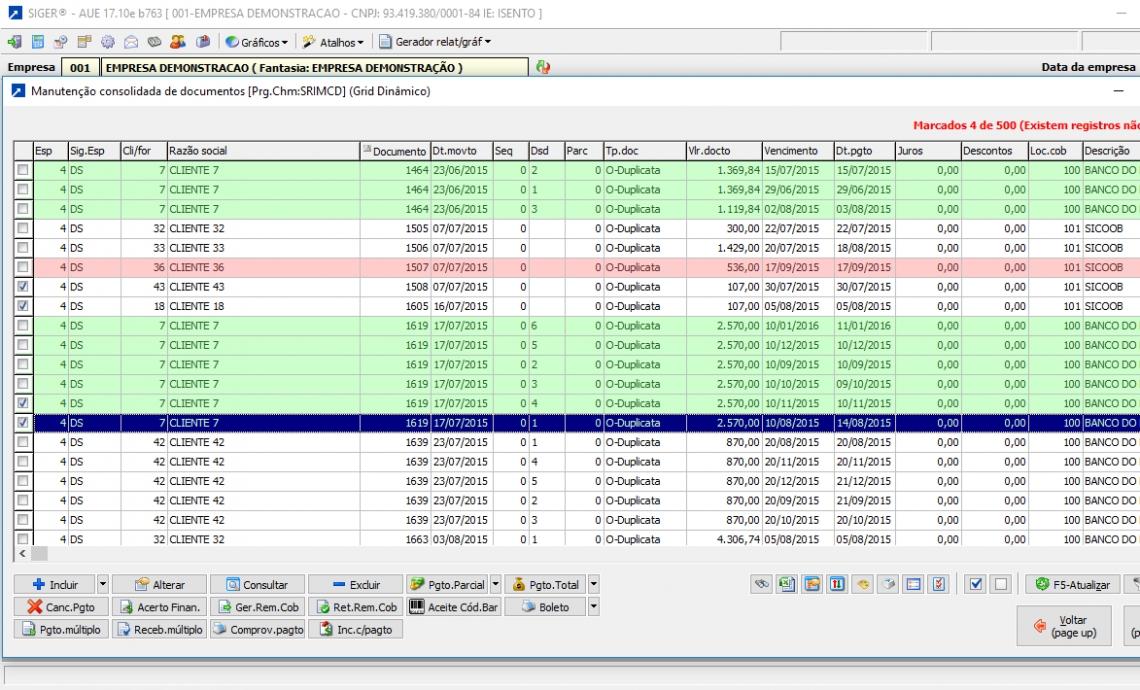 Manutenção consolidada de documentos Financeiros