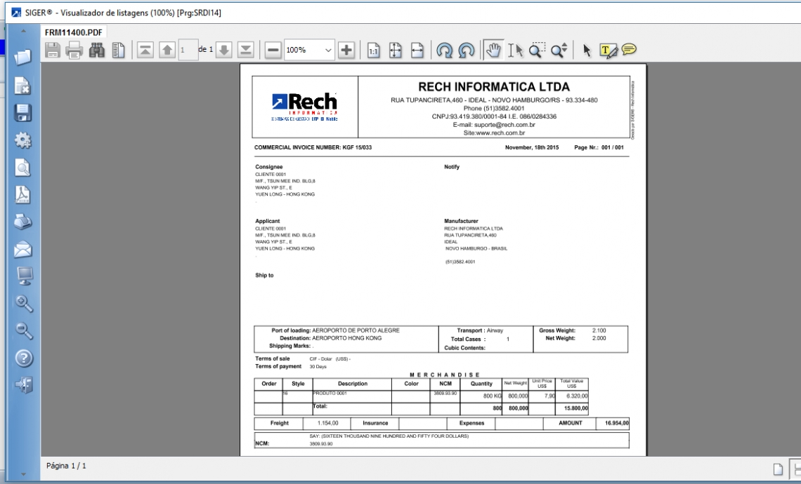 Formulário de Invoice