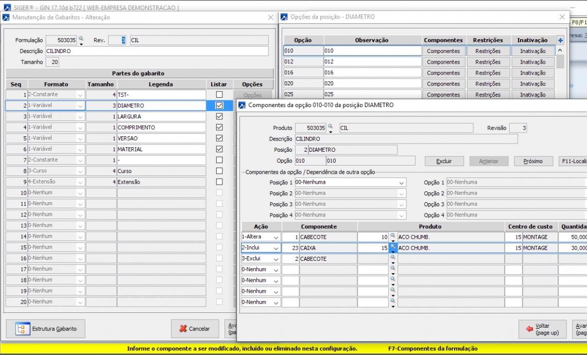 Manutenção do Configurador de Produtos com possibilidade de alteração de Componentes da Estrutura original