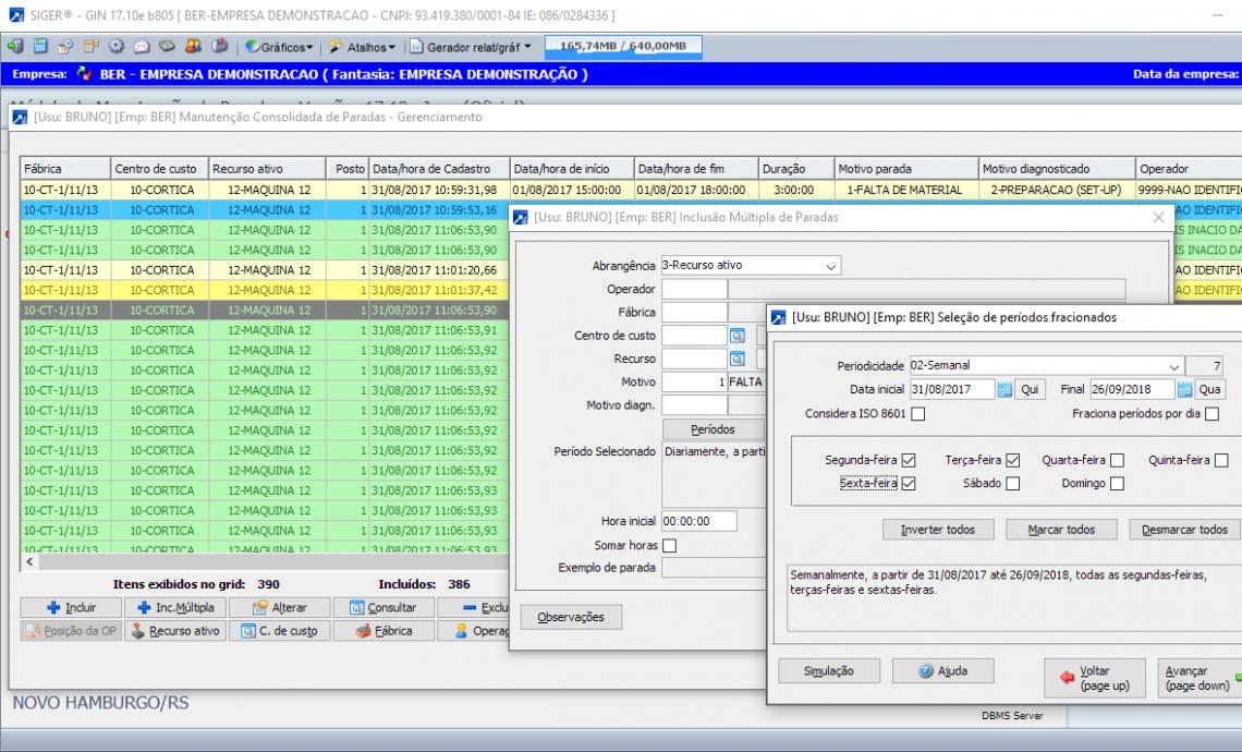 Manutenção consolidada de registros de paradas com inclusão de múltiplas paradas por período