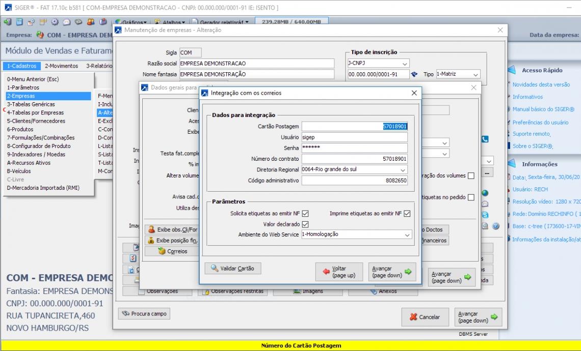 Configuração dos dados para faturamento