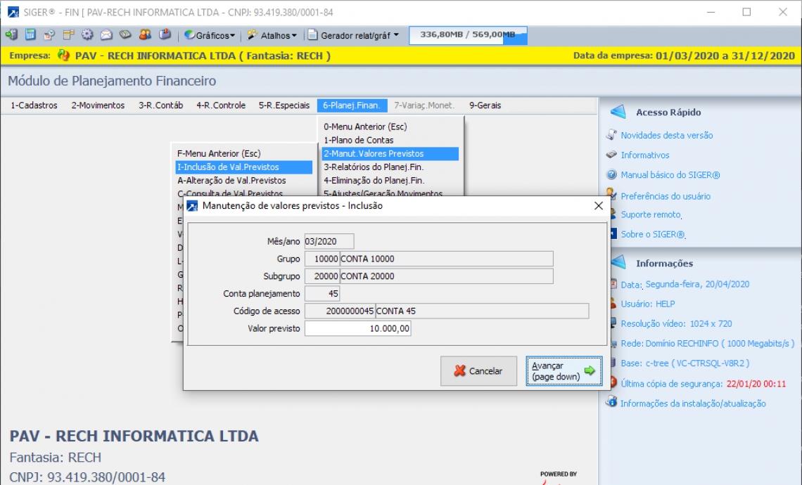 Monitoramento On-line do Financeiro