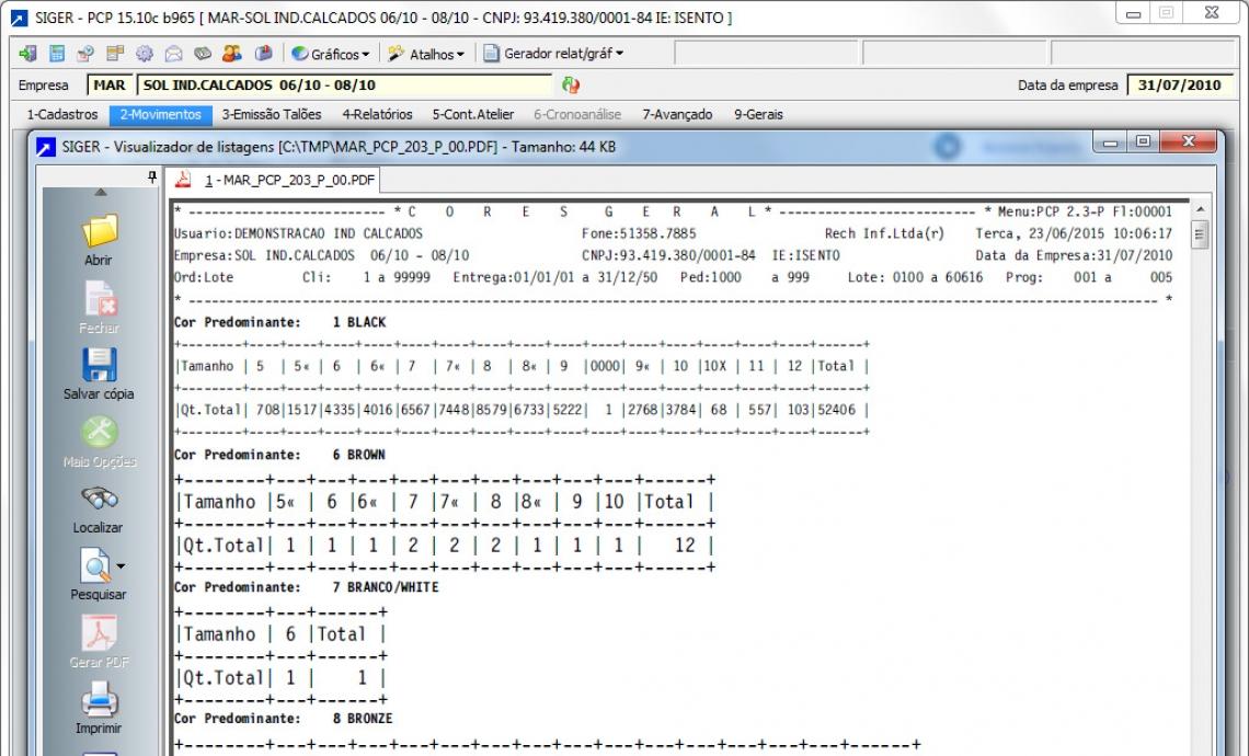 Listagem de programação por cor