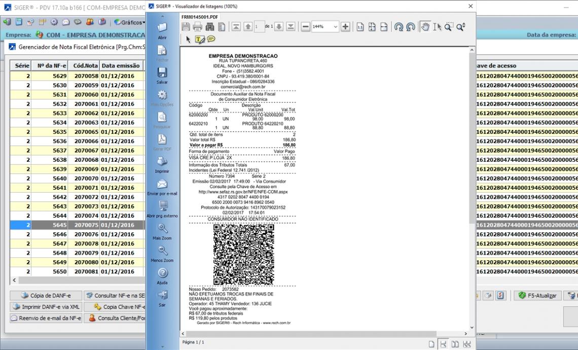 Nota fiscal Consumidor Eletrônica (NFC-e), também está disponível modalidade PAF e SAT